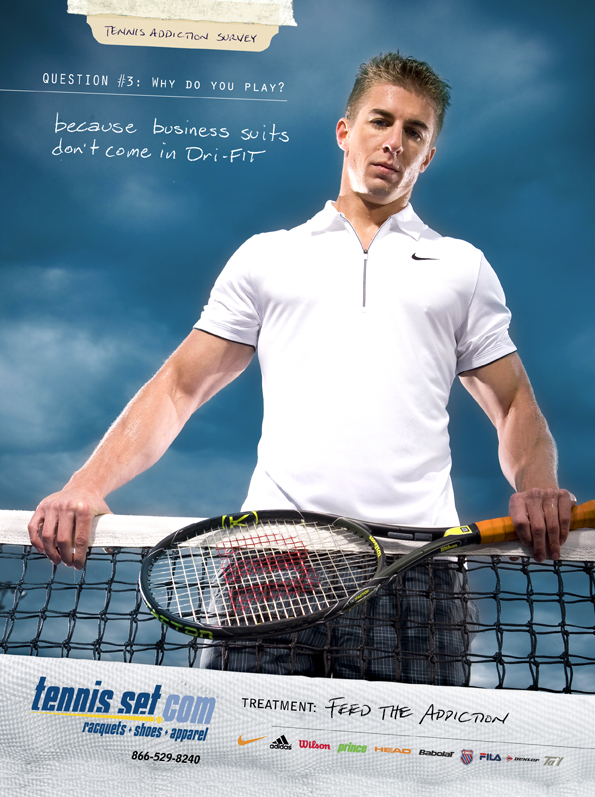 Print advertisement featuring a heroic image of an athletic man standing over a tennis net with an ominous sky in the background