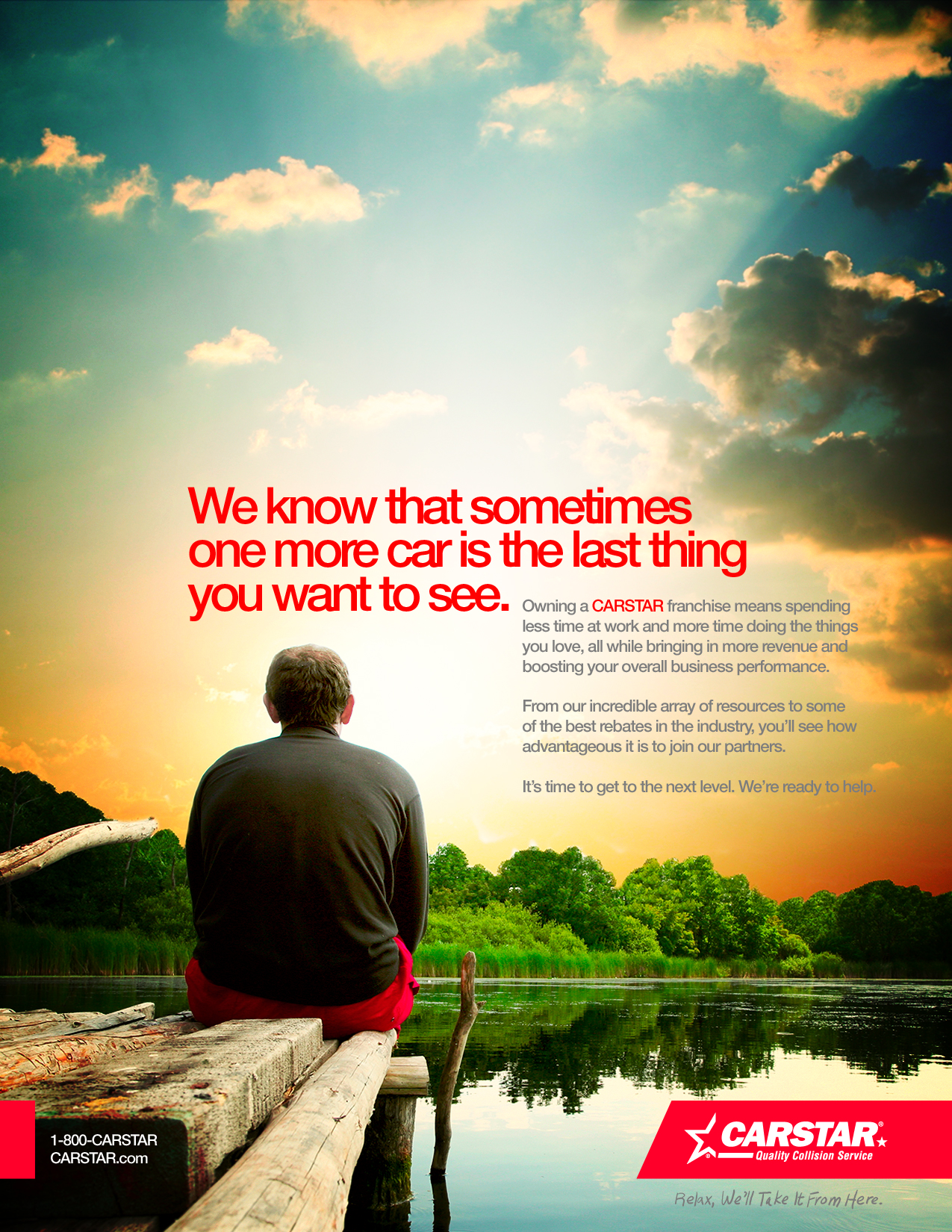 Print advertisement for CARSTAR featuring a man sitting on a dock looking out over a lake at sunset