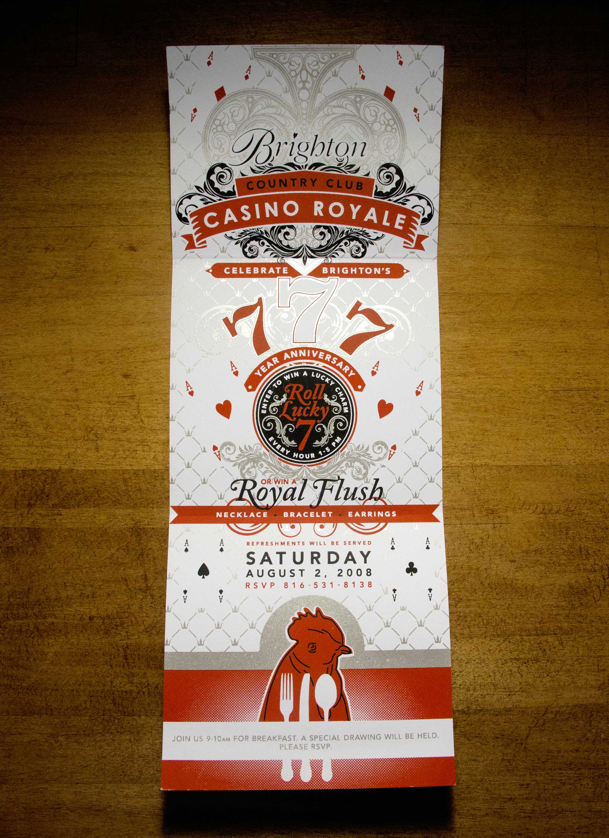 Red, silver and black 3-color screen printed invitation for Brighton Collectibles' Casino Royale party in the Kansas City Country Club Plaza