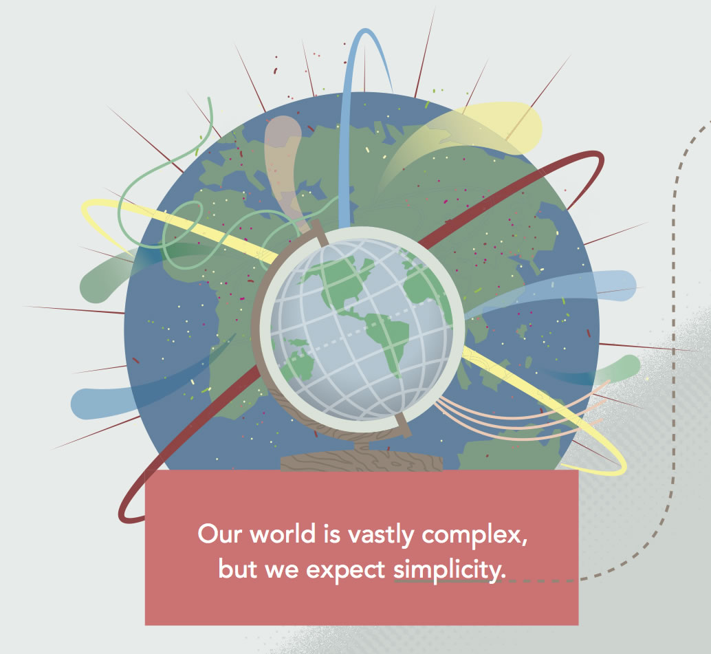 Detail from Purina's Prototyping infographic showing an illustrated planet encased in activity and at the center is a globe model.