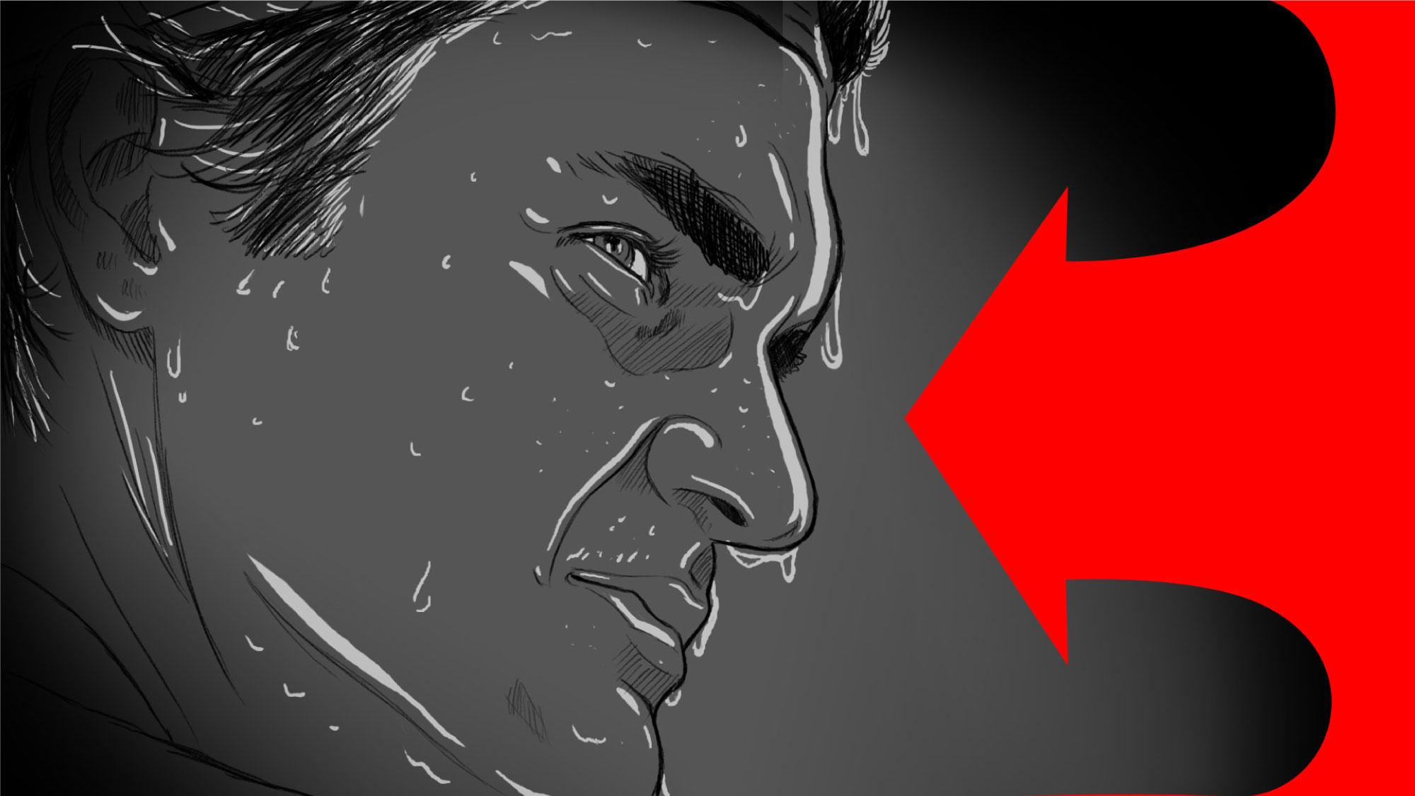 Illustration of Roger Federer in storyboard, close-up